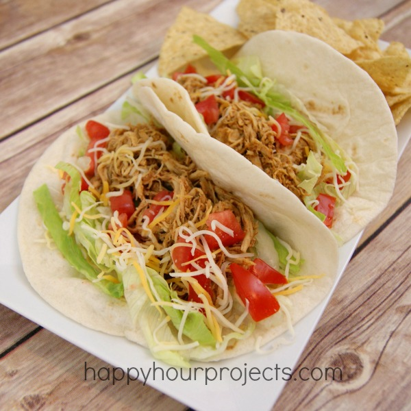 Slow Cooker Chicken Tacos at www.happyhourprojects.com