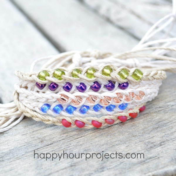 How to Make Woven Wish Bracelets at www.happyhourprojects.com | Great summer project! Cheap and quick to make, it's a perfect camp craft or group craft!