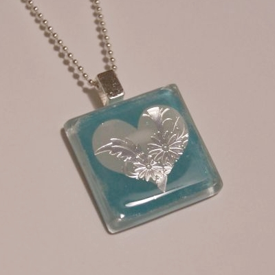 Glass Tile Necklace for Valentine's Day