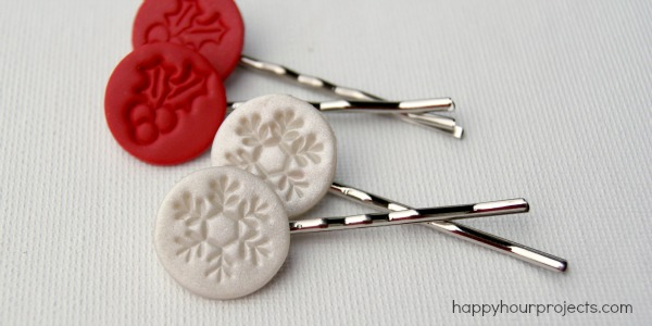 Christmas-Themed Hair Pins With Polymer Clay