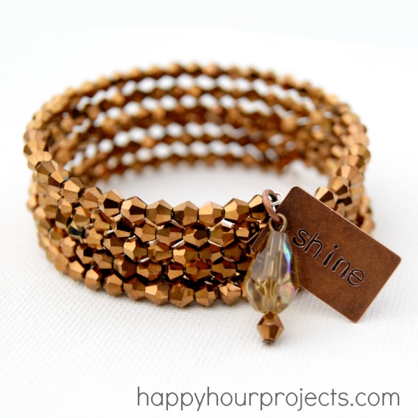 Easy Bronze Memory Wire Bracelet