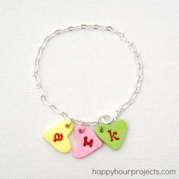 Polymer Clay Conversation Heart Charm Bracelet