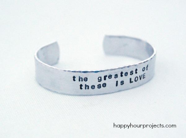 Hammered Hand Stamped Cuff Bracelet