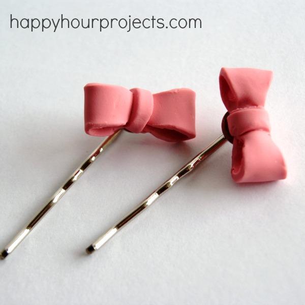 Bow Hair Pins with Polymer Clay