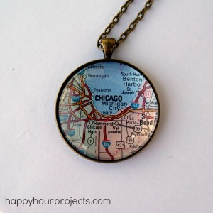 Glass Map Necklace at www.happyhourprojects.com
