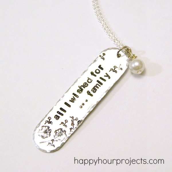 Hand Stamped Dandelion Wish Necklace