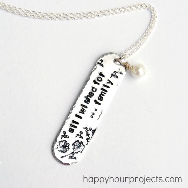Hand Stamped Dandelion Necklace