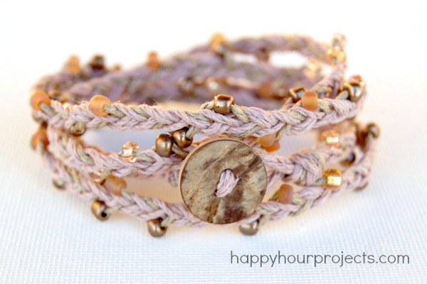 Beaded Hemp Wrap Bracelet Tutorial at happyhourprojects.com