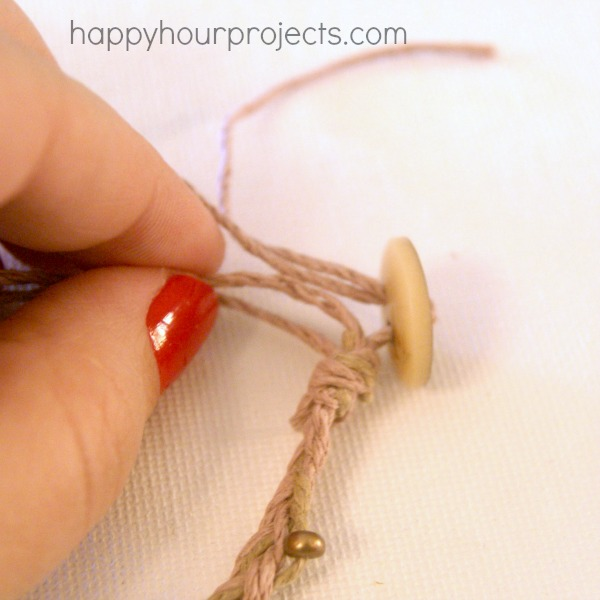 Beaded Hemp Wrap Bracelet Tutorial at happyhourprojects.com