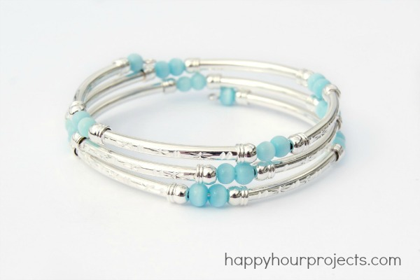 Memory Wire Tube Bead Bracelet - Happy Hour Projects