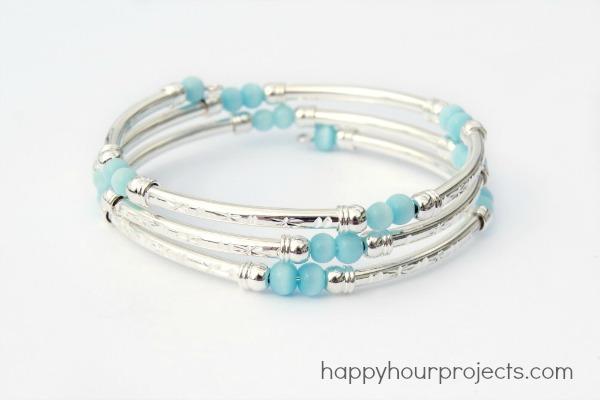 Memory Wire Tube Bead Bracelet