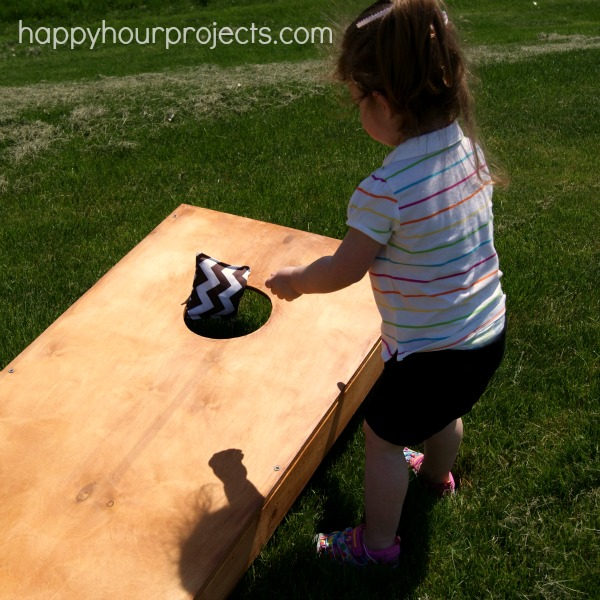 DIY Stained Bean Bag Toss Game
