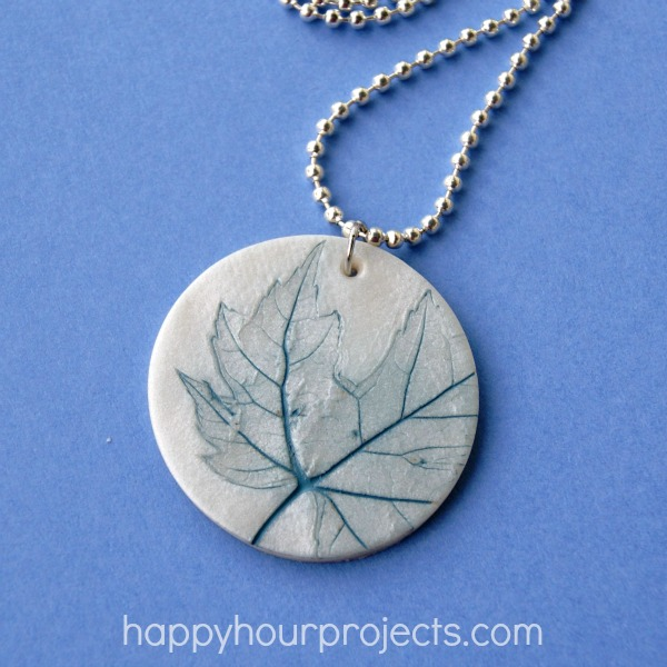 Leaf imprinted clay necklace happy hour projects leaf imprint polymer clay pendant at happyhourprojects aloadofball Images