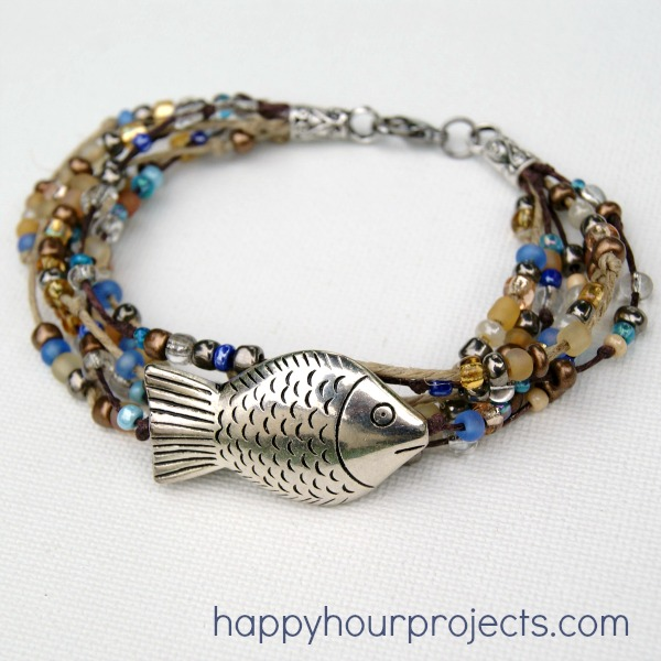 Layered Hemp Beaded Bracelet at www.happyhourprojects.com