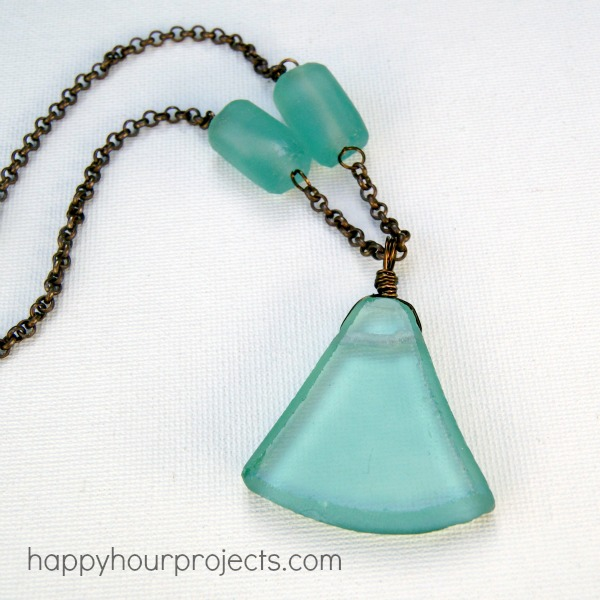 Recycled Glass Necklace at www.happyhourprojects.com