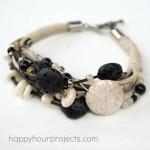 Stone, Bone and Lava Bead Layered Bracelet
