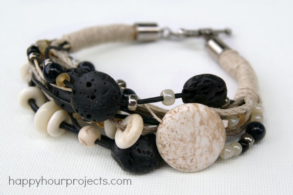 Stone, Bone, and Lava Bead Layered Bracelet at www.happyhourprojects.com