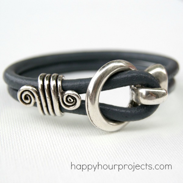 Five Minute Leather Bracelet Tutorial at www.happyhourprojects.com
