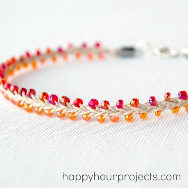 Bead and Hemp Ankle Bracelet at www.happyhourprojects.com