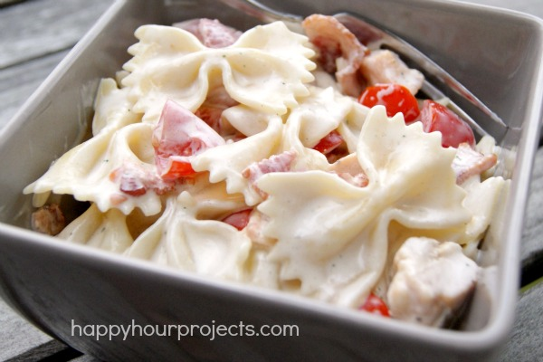 Chicken Bacon Ranch Pasta Salad at www.happyhourprojects.com