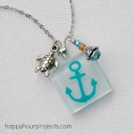 Painted Anchor Glass Tile Necklace AND a Huge Americana Glass Paints Giveaway!