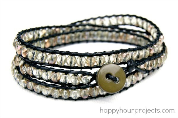 DIY Crystal Wrap Bracelet at www.happyhourprojects.com