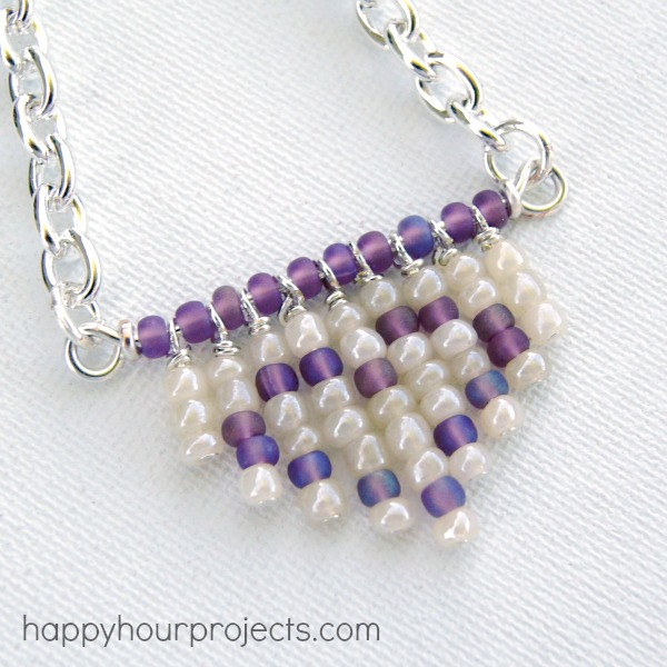 Heart Fringe Bead Necklace at www.happyhourprojects.com
