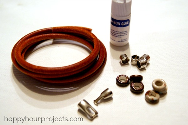Easy Leather Wrap Bracelet Tutorial at www.happyhourprojects.com