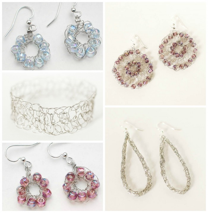 Crocheted Wire Jewelry Inspiration by Petals to Picots at www.happyhourprojects.com