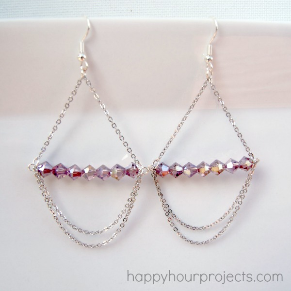 Simple Chandelier Earring Tutorial at www.happyhourprojects.com
