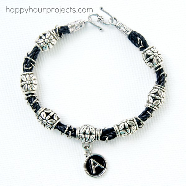 Barrel Bead Bracelet Tutorial at www.happyhourprojects.com