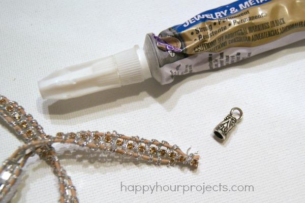 Rhinestone Wrap Bracelet Tutorial at www.happyhourprojects.com