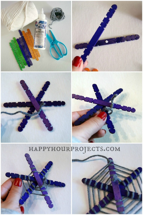 Halloween Popsicle Stick Spiderwebs Happy Hour Projects