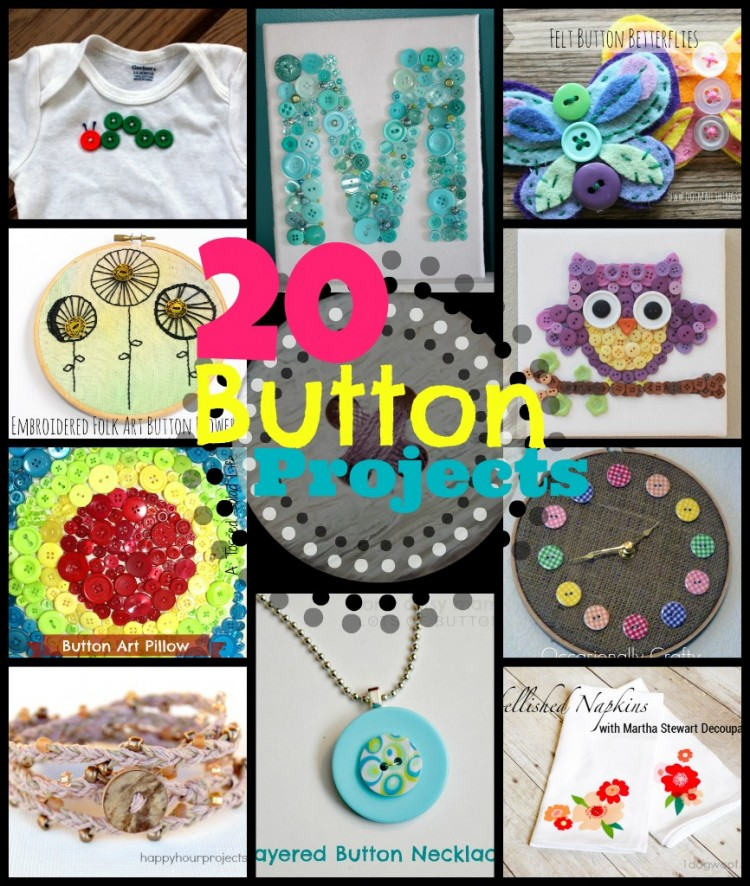 20 Button Crafts at www.happyhourprojects.com