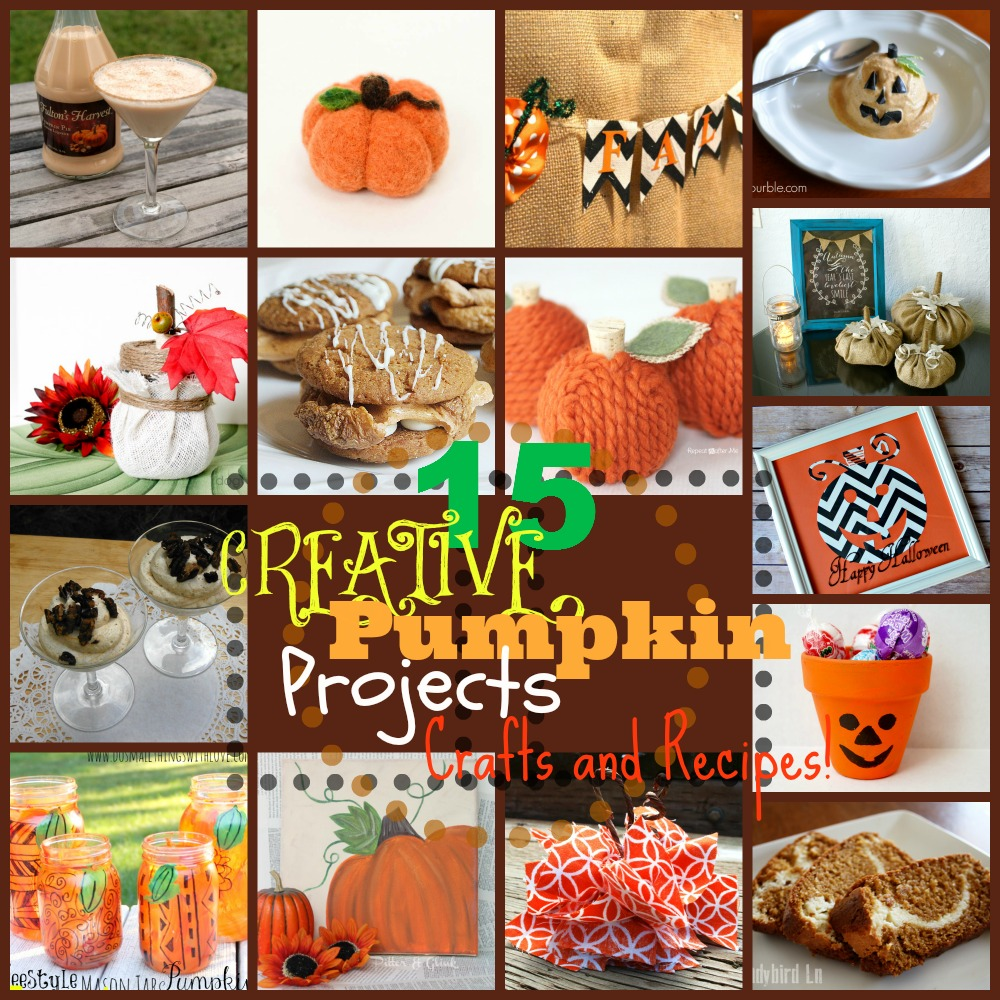 15 Pumpkin Projects, Crafts, and Recipes from #MyFavoriteBloggers at www.happyhourprojects.com