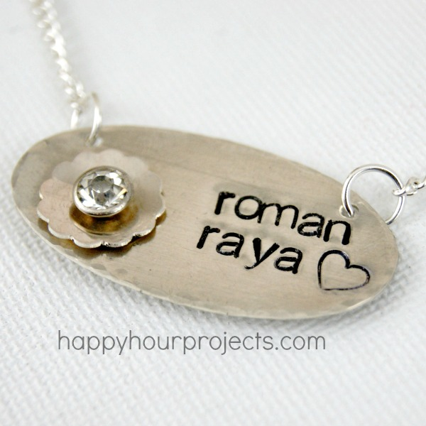 Hand Stamped and Riveted Mother and Child Mommy Necklace at www.happyhourprojects.com