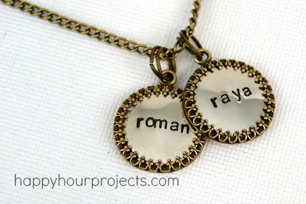 Hand Stamped Framed Mommy Necklace at www.happyhourprojects.com