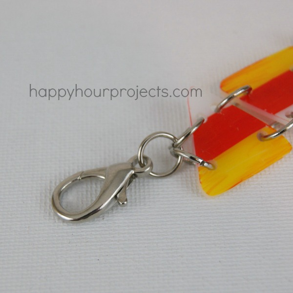 Candy Corn Shrink Plastic Bracelet at www.happyhourprojects.com