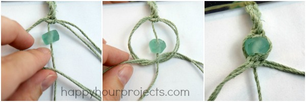 Glass Bead Macrame Bracelet at www.happyhourprojects.com