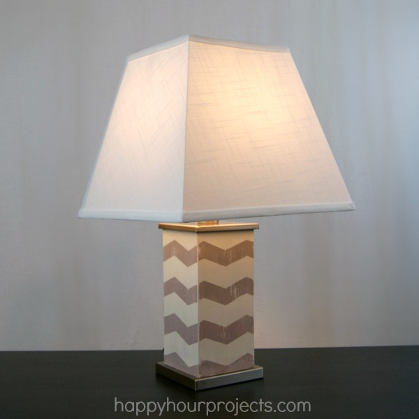 Chevron Lamp with Chalk Paint and FrogTape Shape Tape at www.happyhourprojects.com