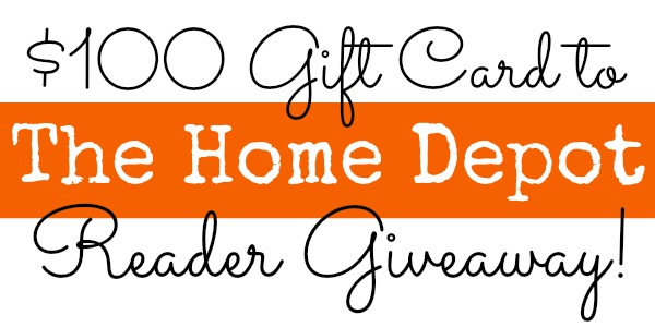 $100 Home Depot Giveaway at www.happyhourprojects.com | Ends November 10 2013