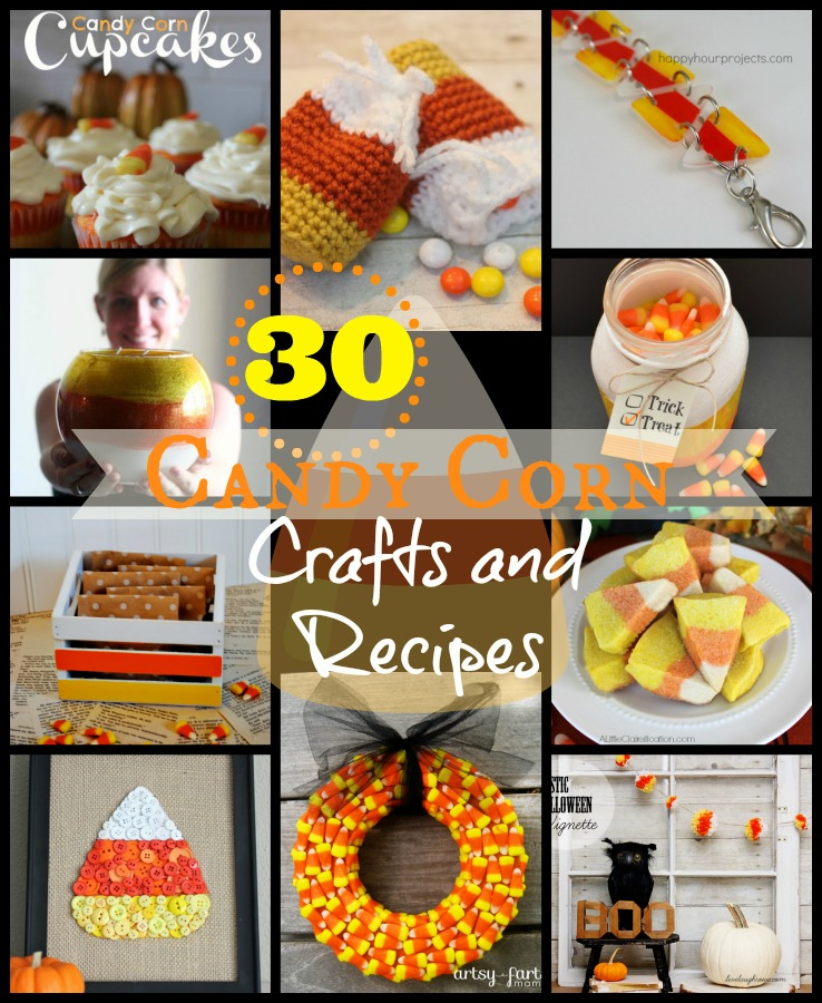 30 Candy Corn Crafts and Recipes at www.happyhourprojects.com