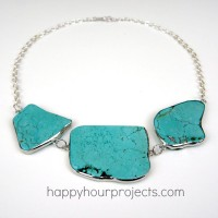Easy Turquoise Statement Necklace at www.happyhourprojects.com