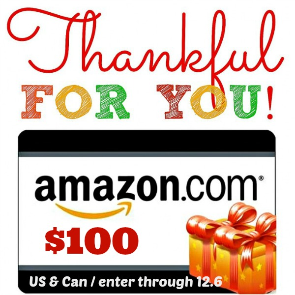 Thankful! $100 Amazon Giveaway at www.happyhourprojects.com - US/Can Enter through 12.6