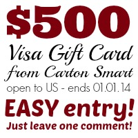 $500 Visa Gift Card from Carton Smart at Happy Hour Projects
