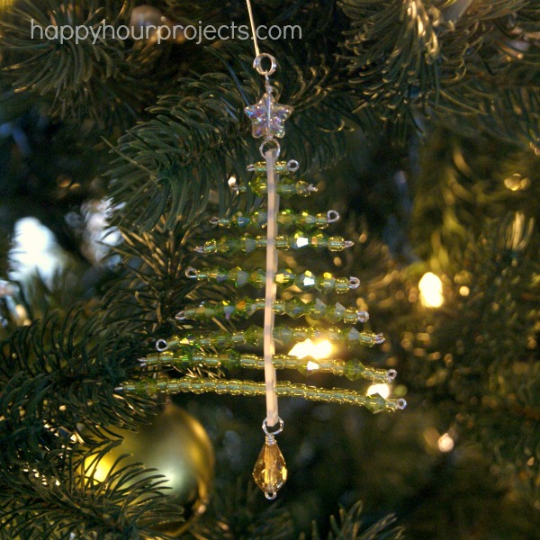 Beaded Tree Ornament at www.happyhourprojects.com