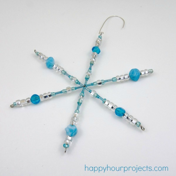 Easy Beaded Snowflake Ornaments at www.happyhourprojects.com with #MyFavoriteBloggers