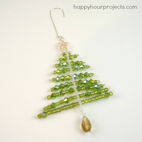 Beaded Tree Ornament at www.happyhourprojects.com - Beaded Christmas Tree Ornament - Happy Hour Projects