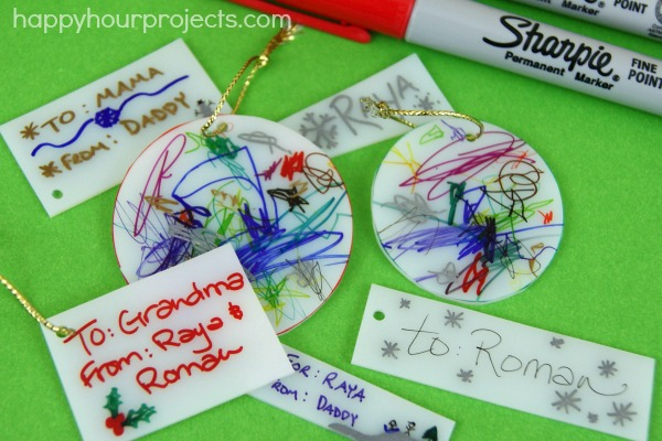 Shrink Plastic Keepsake Tags at www.happyhourprojects.com #StaplesSharpie #ad #pmedia