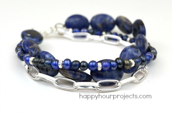 Multi-Strand Mixed Media Bracelet Tutorial at www.happyhourprojects.com